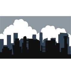 Silhouette of building and cloud vector