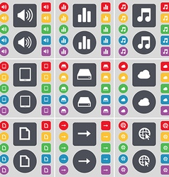 Sound Diagram Note Tablet PC Hard drive Cloud File vector image