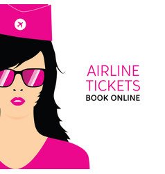 stewardess in ping uniforms with booking online vector image