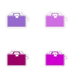 Stylish assembly sticker on paper case full of vector
