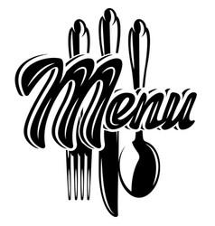 Stylish lettering menu with a set cutlery vector