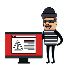 Thief bad with computer alert avatar character vector