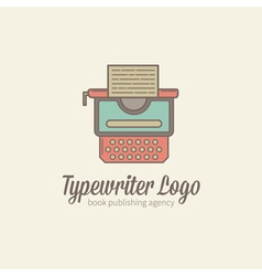 Thin-lined stylized typewriter logotype vector