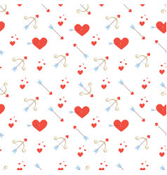 Valentines day seamless pattern with red hearts vector