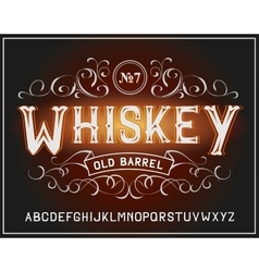 Vintage label font Whiskey label style vector