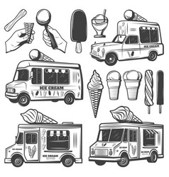 Vintage monochrome ice creams collection vector