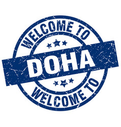 Welcome to doha blue stamp vector