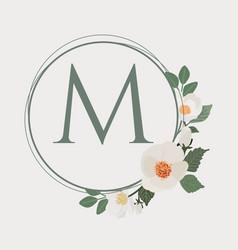 White camellia wreath frame alphabet logo template vector