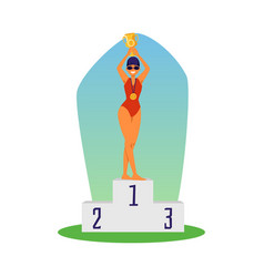 Woman winner swim competition on award ceremony vector