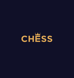wordmark chess logo with king crown icon vector image