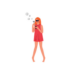 young woman in red short dress and sunglasses vector image