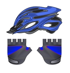 Blue Helmet and Gloves vector image vector image