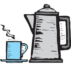 Cup and teapot vector image vector image