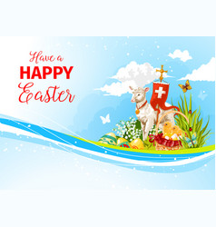 Easter greeting paschal passover lamb card vector