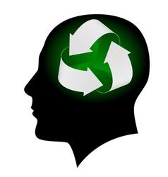 ecology symbol in human head vector image vector image