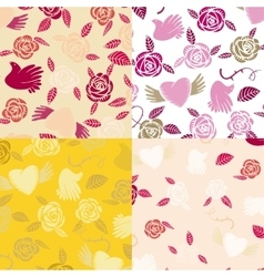 Four Valentine seamless patterns vector image vector image