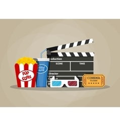 Retro movie set cinema items vector image