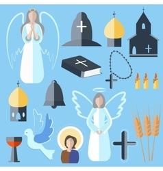 Set theme religion angel bell church dove vector