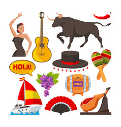 travel pictures of spain cultural objects cartoon vector image vector image