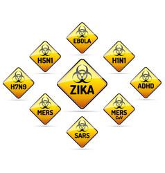 zika mers sars h5n1 biohazard virus sign vector image