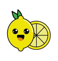 color kawaii happy lemon icon vector image