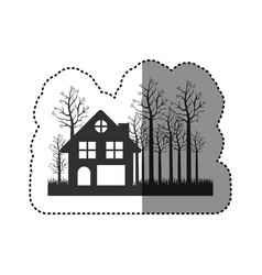 sticker of black silhouette of cottage in the vector image vector image