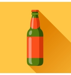 beer bottle in flat design style vector image vector image