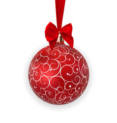 christmas ball with ball and ribbon on white vector image