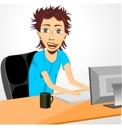 programmer working at computer vector image