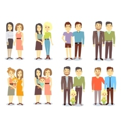 Set of gay LGBT happy families vector image vector image