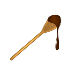 Wooden spoon with chocolate vector