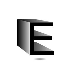 3d alphabet E in grey vector image vector image