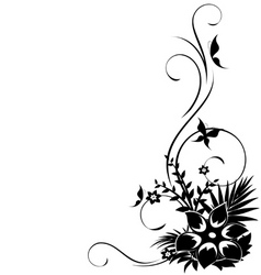 abstract floral corner with swirls vector vector image