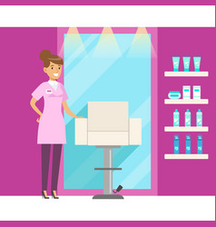barbershop interior in pink colors colorful vector image