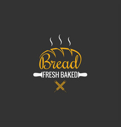 bread logo design bakery sign on black background vector image vector image