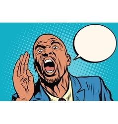 Emotional strong black man calling vector image