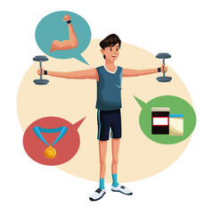 man sports barbell training lifestyle vector image vector image
