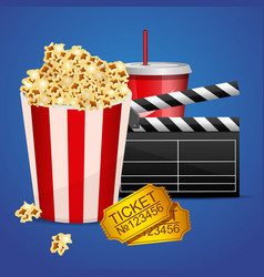 realistic cinema movie poster template with film vector image