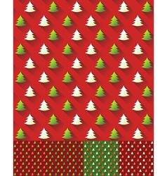 Set of Seamless Christmas Tree Pattern background vector image vector image