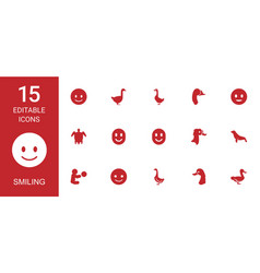 15 smiling icons vector