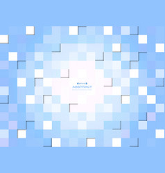 abstract of blue gradient pixel square pattern vector image