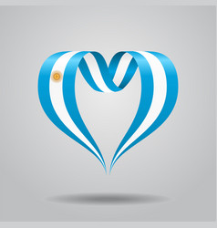 Argentinean flag heart-shaped ribbon vector