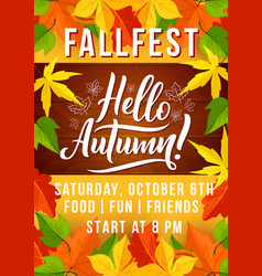 Autumn harvest fest invitation with fallen leaf vector