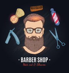 Barber shop hand drawn vector