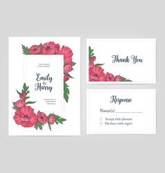bundle elegant templates for wedding invitation vector image