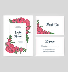 bundle of elegant templates for wedding invitation vector image