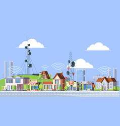 Cellular towers in city vector