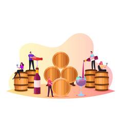 Characters wine degustation in vault tiny people vector