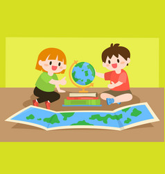 Children studying learning geography with globe vector