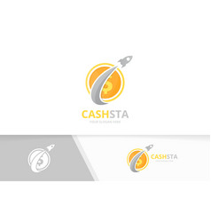 Coin and rocket logo combination money and vector